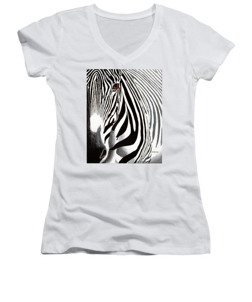 Eye Of The Zebra Women's V-Neck (Athletic Fit)