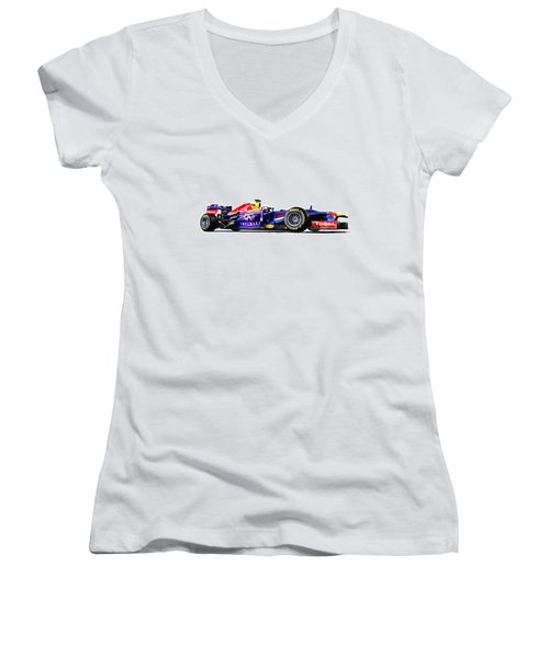 F1 Red Bull Rb9 Women's V-Neck T-Shirt (Junior Cut) by Gianfranco Weiss