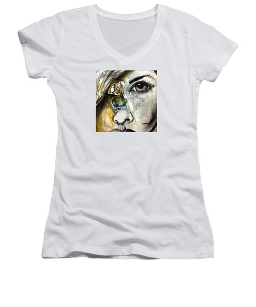 Face To Face Women's V-Neck T-Shirt (Junior Cut) by Helen Syron