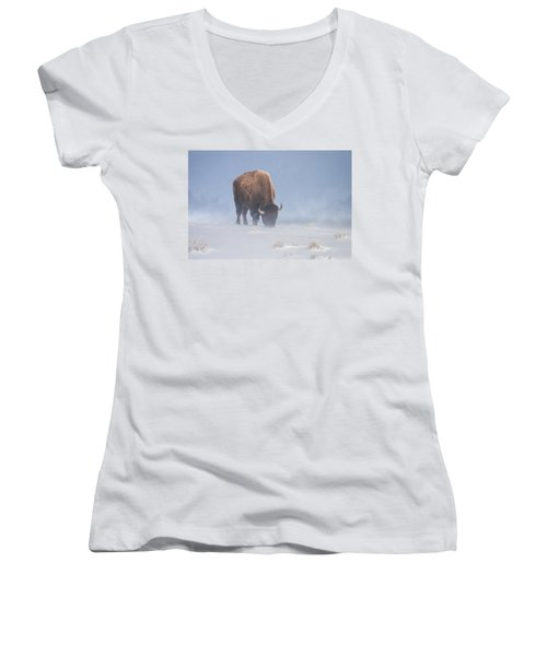 Women's V-Neck T-Shirt (Junior Cut) featuring the photograph Faces The Blizzard by Jack Bell