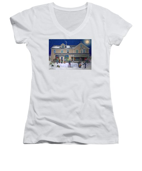 Faddens General Store In North Woodstock Nh Women's V-Neck T-Shirt