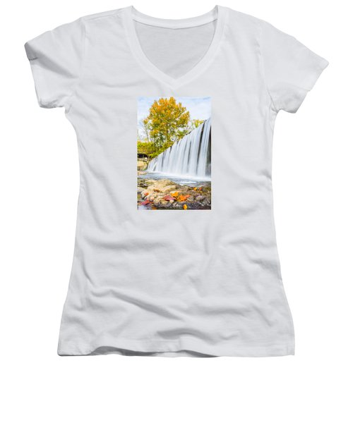 Fall At Buck Creek Women's V-Neck T-Shirt (Junior Cut) by Parker Cunningham