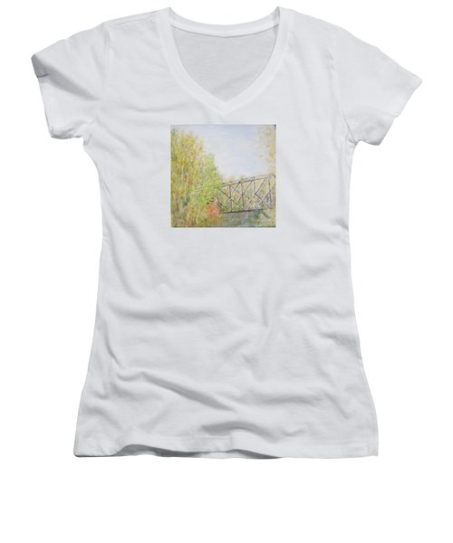 Fall Foliage And Bridge In Nh Women's V-Neck (Athletic Fit)