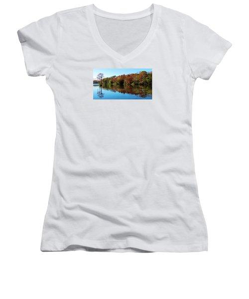 Fall In The Air Women's V-Neck T-Shirt (Junior Cut) by Cynthia Guinn