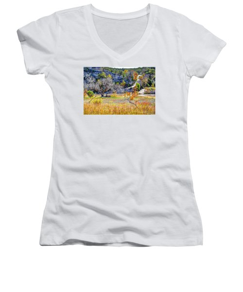 Fall In The Texas Hill Country Women's V-Neck T-Shirt (Junior Cut) by Savannah Gibbs