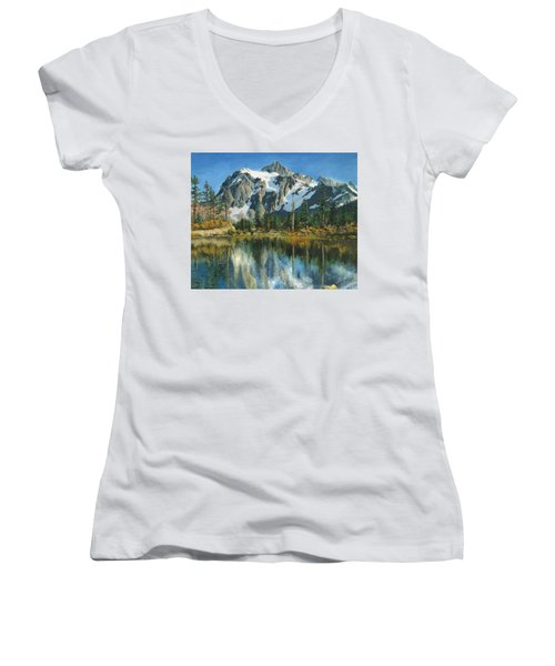 Fall Reflections - Cascade Mountains Women's V-Neck (Athletic Fit)