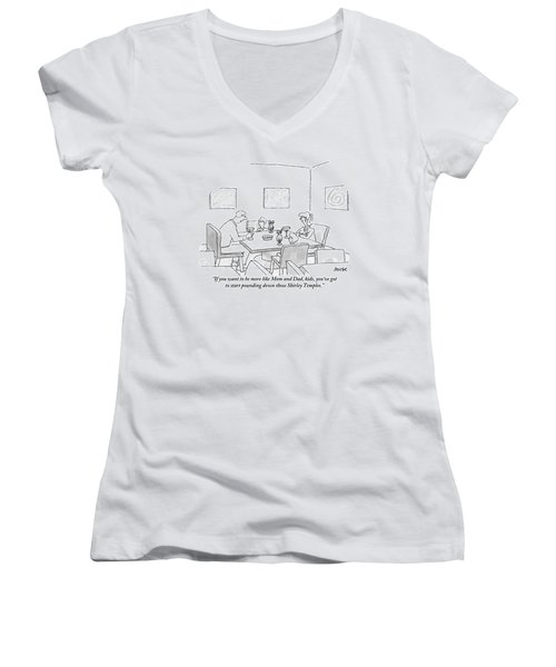 Family Around Table Women's V-Neck