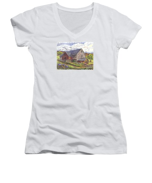 A Scottish Farm  Women's V-Neck T-Shirt (Junior Cut) by Carol Wisniewski