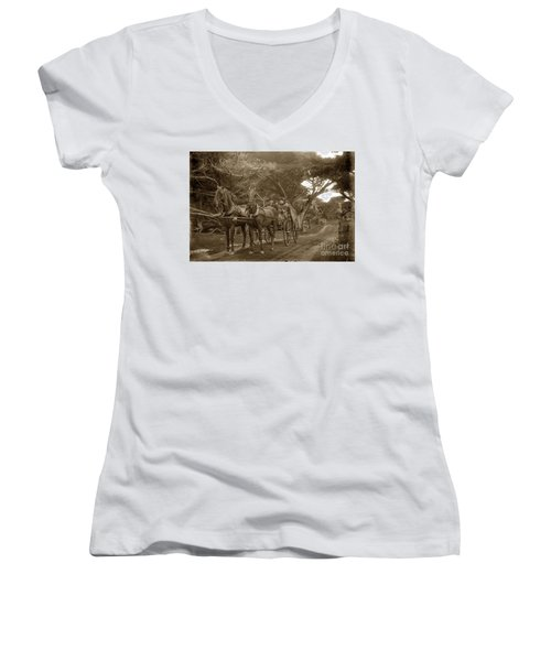 Family Out Carriage Ride On The 17 Mile Drive In Pebble Beach Circa 1895 Women's V-Neck