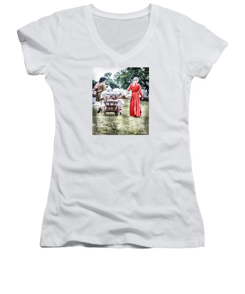 Women's V-Neck featuring the photograph Family Rollin' by Stwayne Keubrick