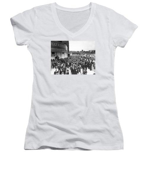 Fans Leaving Yankee Stadium. Women's V-Neck T-Shirt (Junior Cut) by Underwood Archives