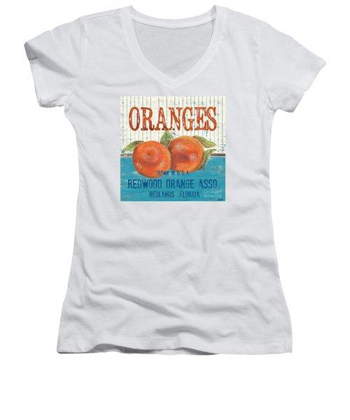 Farm Fresh Fruit 2 Women's V-Neck T-Shirt (Junior Cut) by Debbie DeWitt