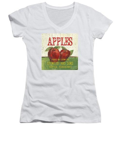 Farm Fresh Fruit 3 Women's V-Neck T-Shirt (Junior Cut) by Debbie DeWitt