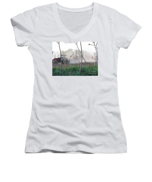 Women's V-Neck T-Shirt (Junior Cut) featuring the photograph Farm Life  by Michael Krek