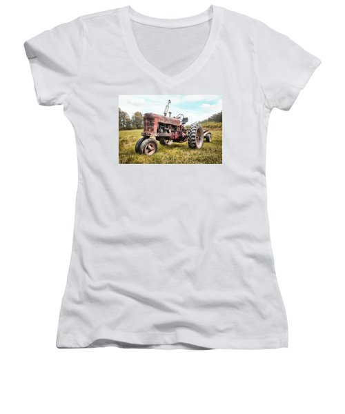 Farmall Tractor Dream - Farm Machinary - Industrial Decor Women's V-Neck (Athletic Fit)