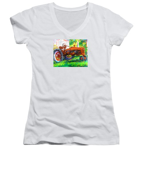 Farmall Tractor Women's V-Neck T-Shirt (Junior Cut) by Les Leffingwell