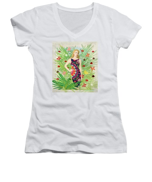 Fashion And Art - Limited Edition 1 Of 10 Women's V-Neck T-Shirt (Junior Cut) by Gabriela Delgado