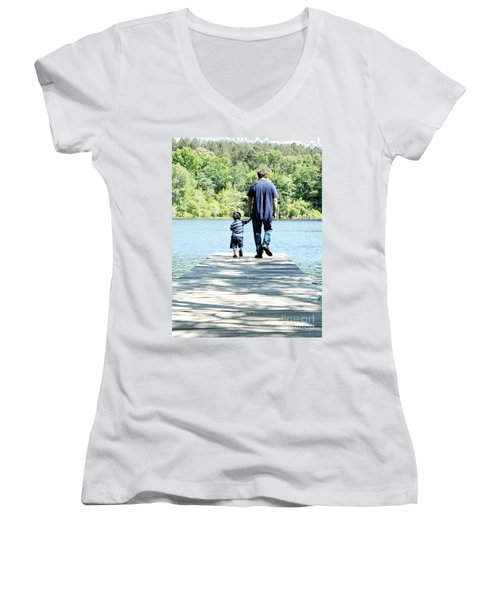 Father And Son Women's V-Neck T-Shirt (Junior Cut) by Andrea Anderegg
