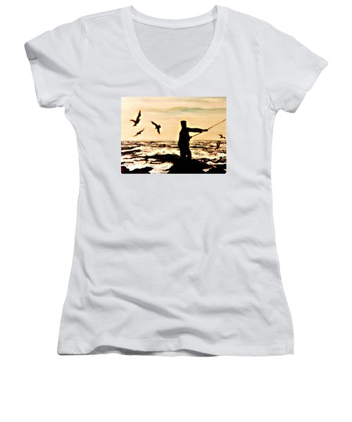 Women's V-Neck T-Shirt (Junior Cut) featuring the mixed media Father Fisherman by Desline Vitto