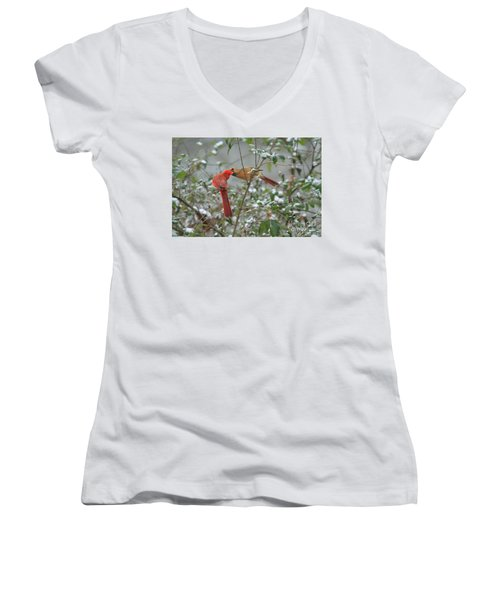 Women's V-Neck T-Shirt (Junior Cut) featuring the photograph Feeding Cardinals by Geraldine DeBoer