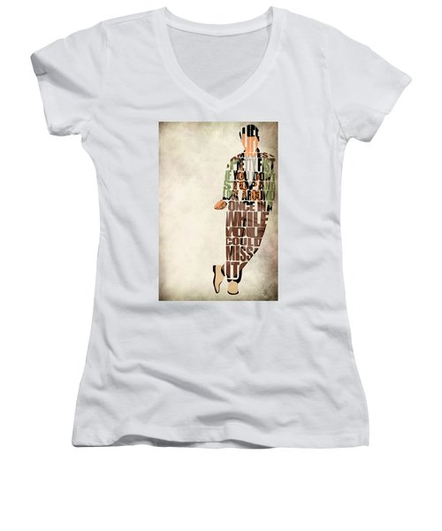 Ferris Bueller's Day Off Women's V-Neck T-Shirt (Junior Cut) by Ayse Deniz