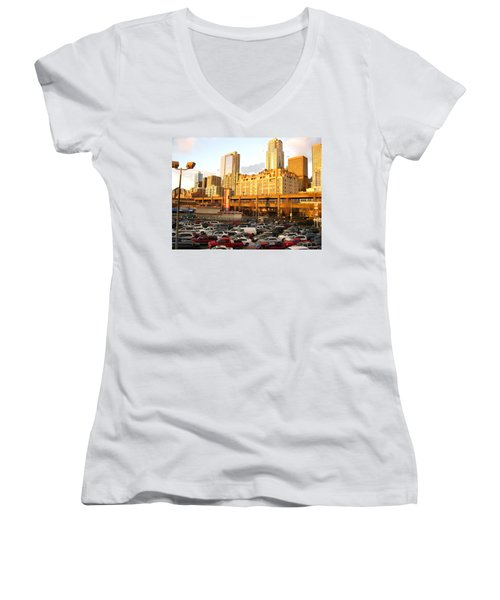 Ferry Lines At Sunset Women's V-Neck T-Shirt (Junior Cut) by David Trotter