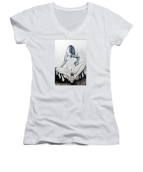 Women's V-Neck T-Shirt (Junior Cut) featuring the drawing Fertility Fertilidad by Lazaro Hurtado