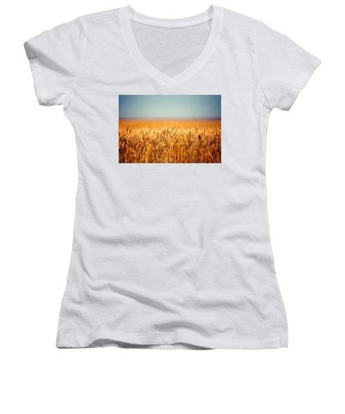 Field Of Wheat Women's V-Neck