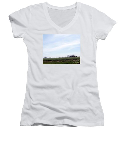 Women's V-Neck T-Shirt (Junior Cut) featuring the photograph Fields Of Source by Bobbee Rickard