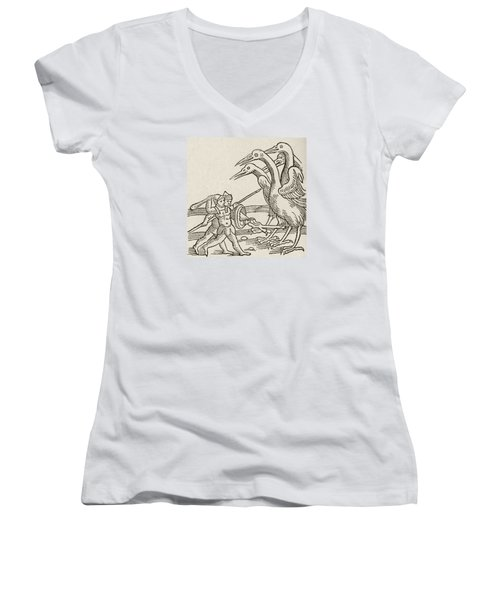 Fight Between Pygmies And Cranes. A Story From Greek Mythology Women's V-Neck T-Shirt (Junior Cut)