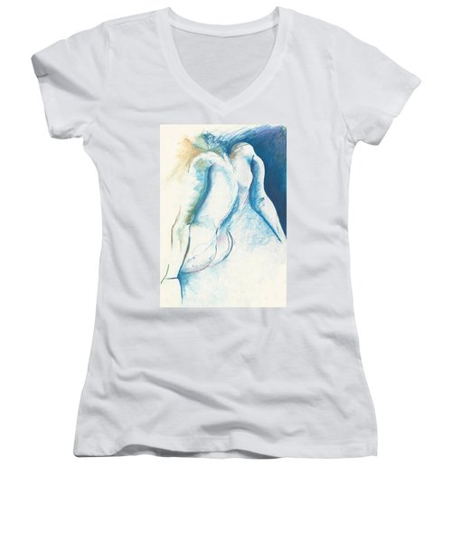 Figurative Abstract Women's V-Neck T-Shirt (Junior Cut) by Melinda Dare Benfield