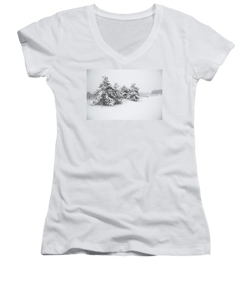 Fir Trees Covered By Snow Women's V-Neck (Athletic Fit)