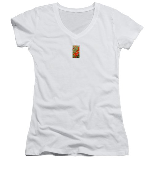 Fire Flowers Women's V-Neck T-Shirt