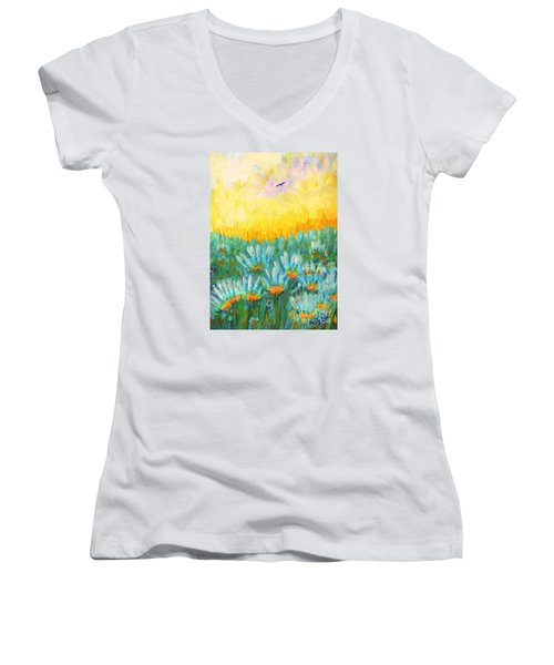 Women's V-Neck T-Shirt (Junior Cut) featuring the painting Firelight by Holly Carmichael