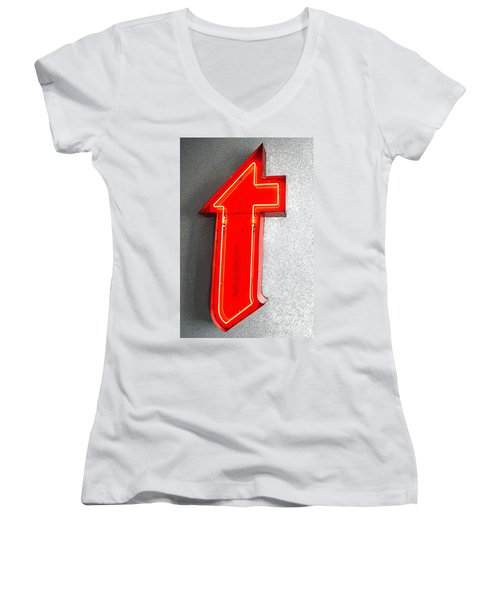 Firestone Building Red Neon T Women's V-Neck T-Shirt (Junior Cut) by Catherine Sherman