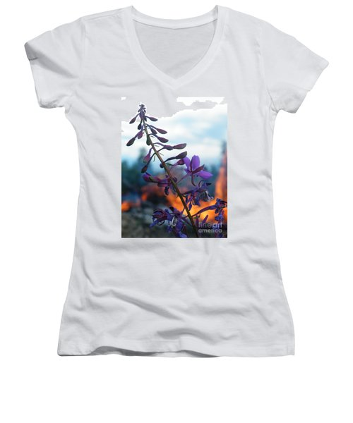 Fireweed Number Five Women's V-Neck T-Shirt (Junior Cut) by Brian Boyle