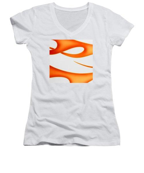 Women's V-Neck T-Shirt (Junior Cut) featuring the photograph Firey Orange by Joe Kozlowski