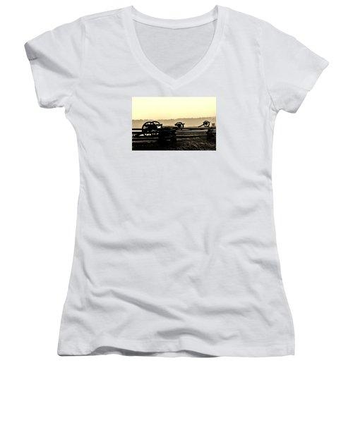 Firing Line Women's V-Neck T-Shirt (Junior Cut) by Daniel Thompson