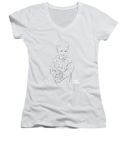 Women's V-Neck T-Shirt (Junior Cut) featuring the drawing First Time Growing Strawberries  by Olimpia - Hinamatsuri Barbu