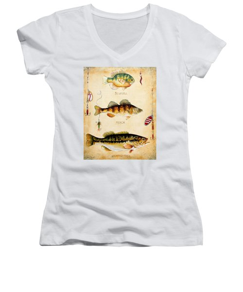 Fish Trio-c Women's V-Neck T-Shirt (Junior Cut) by Jean Plout