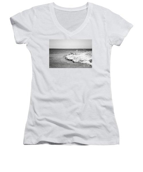 Women's V-Neck T-Shirt (Junior Cut) featuring the photograph Fishing by Erika Weber