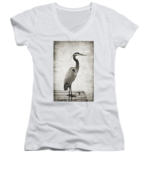 Fishing From The Dock Women's V-Neck T-Shirt (Junior Cut) by Scott Pellegrin