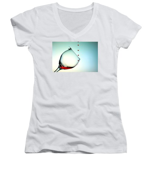 Fishing On A Glass Cup With Red Wine Droplets Little People On Food Women's V-Neck T-Shirt (Junior Cut) by Paul Ge