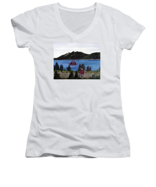 Women's V-Neck T-Shirt (Junior Cut) featuring the painting Fishing Schooner by Barbara Griffin