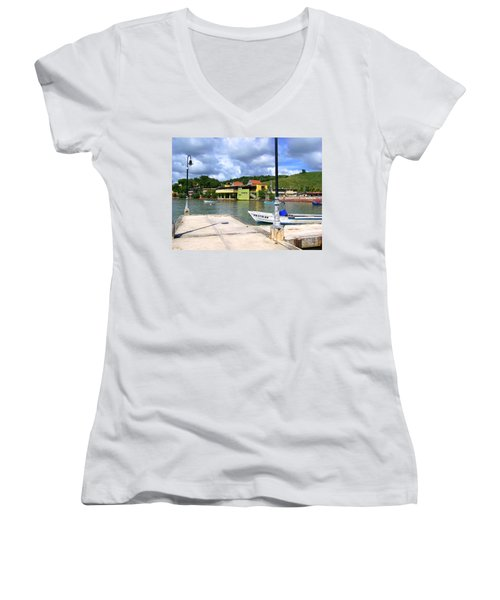 Fishing Village Puerto Rico Women's V-Neck (Athletic Fit)