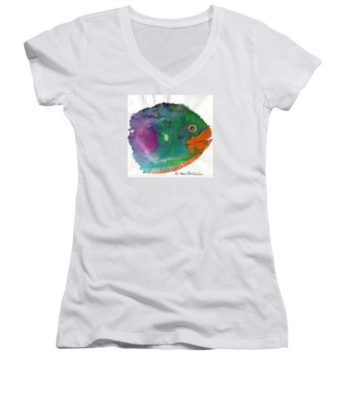 Women's V-Neck T-Shirt (Junior Cut) featuring the painting Fishy by Joan Hartenstein