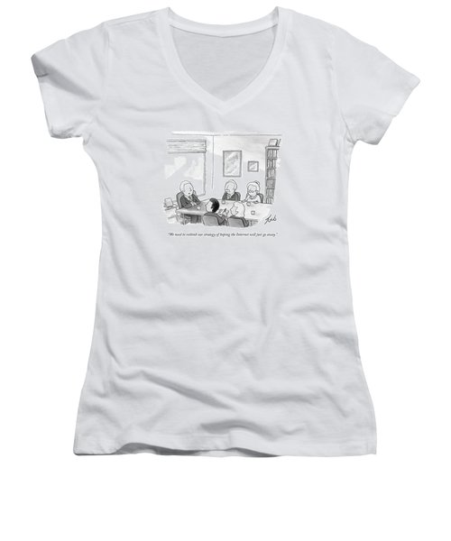 Five People Sit Around A Conference Table Women's V-Neck