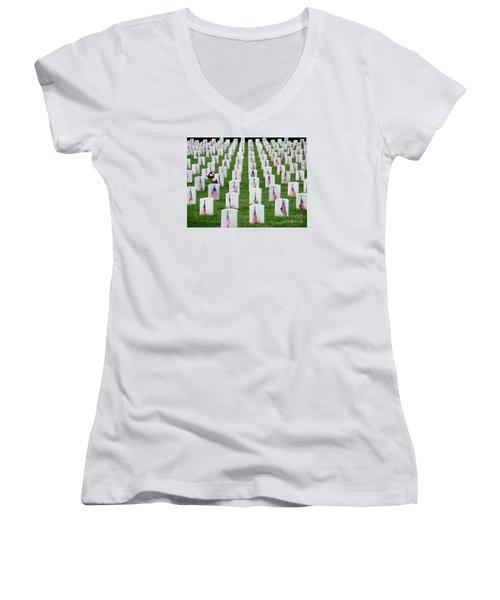 Women's V-Neck T-Shirt (Junior Cut) featuring the photograph Flags Of Honor by Ed Weidman