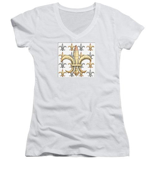 Fleur De Lys Silver And Gold Women's V-Neck T-Shirt (Junior Cut) by Barbara Chichester