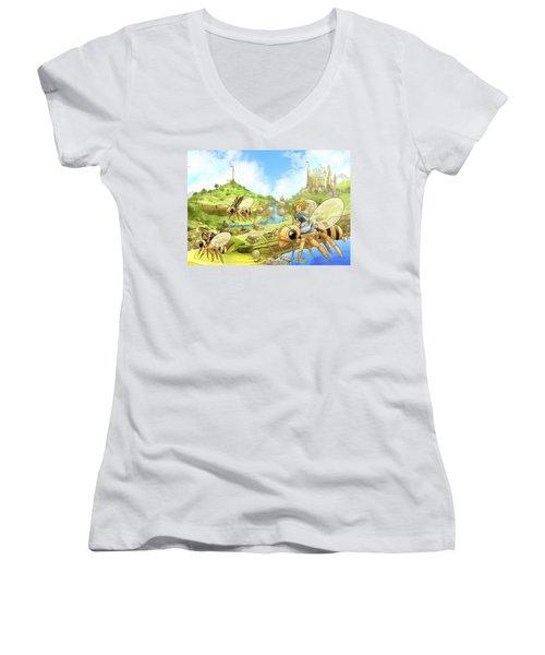 Flight Over Capira Women's V-Neck T-Shirt (Junior Cut) by Reynold Jay